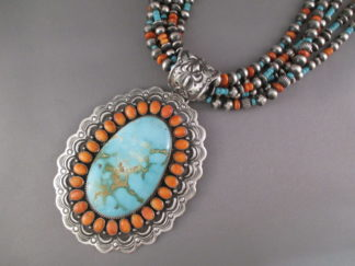 HUGE Turquoise Necklace - Very Large Royston Turquoise Necklace with Spiny Oyster Shell by Native American jewelry artist, Darryl Becenti $4,995-