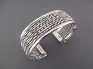 Sterling Silver 'Mesh' Cuff Bracelet by Navajo Indian jewelry artist, Artie Yellowhorse $285-