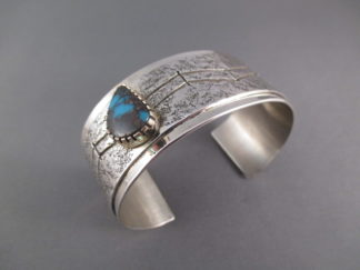 Sterling Silver & Candelaria Turquoise Cuff Bracelet by Navajo jewelry artist, Vernon A Begaye $850-