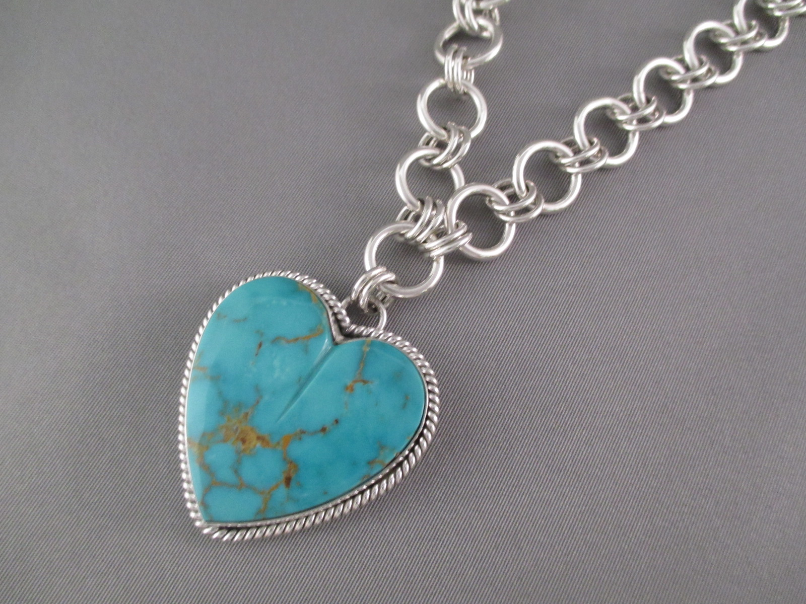Heart Necklace Pendant Necklace With Turquoise Heart