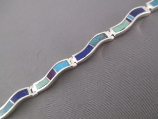 Inlay Jewelry - 'Wavy' Inlaid Multi-Stone Link Bracelet by Navajo Indian jewelry artist, Tim Charlie $410-