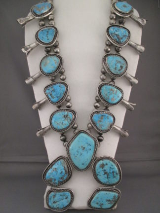 HUGE Squash Blossom Necklace FOR SALE with Morenci Turquoise $12,000-