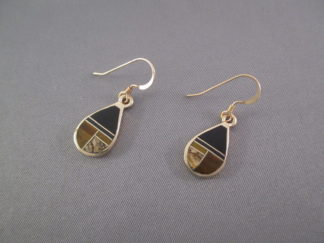 Native American Gold Jewelry - Gold & Multi-Stone Inlay Earrings by Navajo jeweler, Tim Charlie $875-