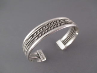 Smaller Sterling Silver 'Mesh' Cuff Bracelet by Navajo Indian jewelry artist, Artie Yellowhorse $195-