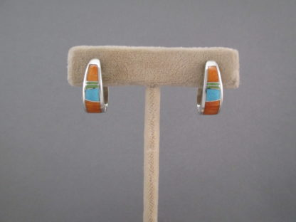 Colorful Multi-Stone Inlay Earrings (Lg Huggies) by Native American jewelry artist, Charles Willie photo 2