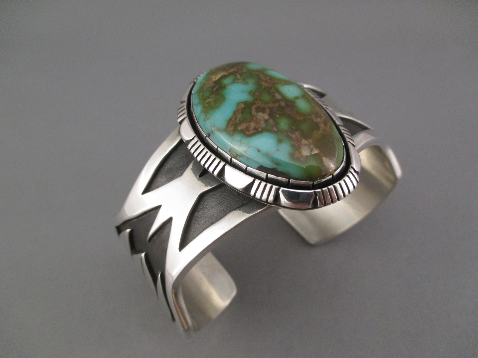Sterling Silver Navajo Cuff Bracelet With Royston