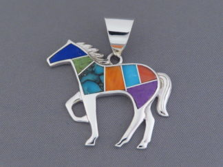 Inlaid Multi-Color Horse Pendant