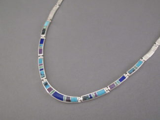 Inlay Jewelry - Inlaid Multi-Stone Necklace by Native American jeweler, Charles Willie FOR SALE $695-