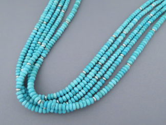 5-Strand Long Sleeping Beauty Turquoise Necklace by Desiree Yellowhorse